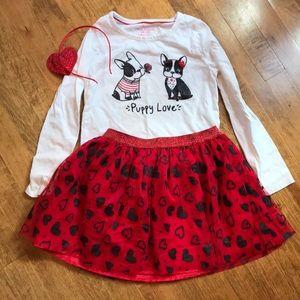 Valentine Boston terrier frenchie tutu shirt skirt